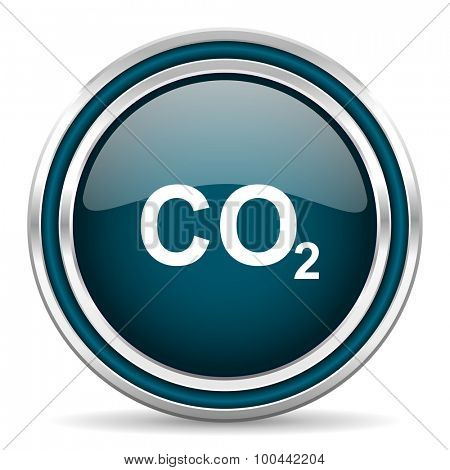 carbon dioxide blue glossy web icon with double chrome border on white background with shadow