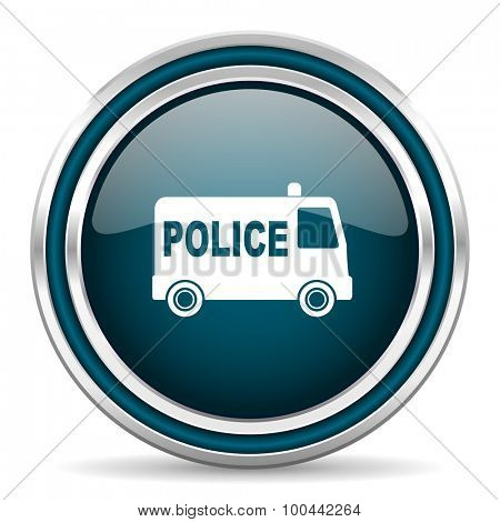 police blue glossy web icon with double chrome border on white background with shadow