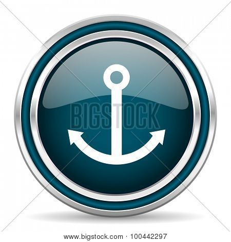 anchor blue glossy web icon with double chrome border on white background with shadow