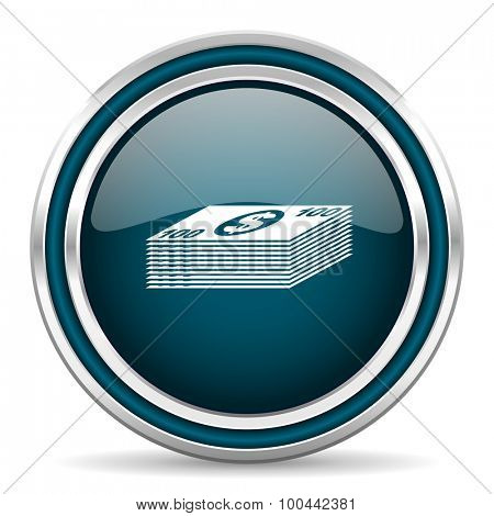 money blue glossy web icon with double chrome border on white background with shadow
