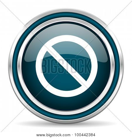 access denied blue glossy web icon with double chrome border on white background with shadow