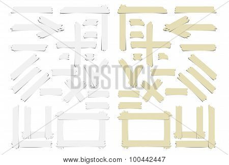 Set of accept or yes sumbol, cross and different size adhesive sticky tape pieces on white backgroun