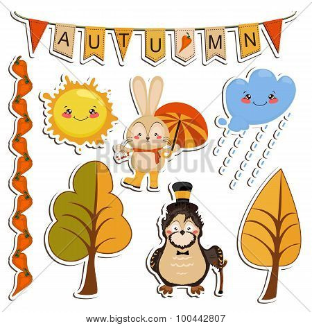 Vector set of cartoon drawings, funny animals, autumn forest, br