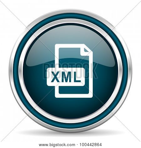 xml file blue glossy web icon  with double chrome border on white background with shadow