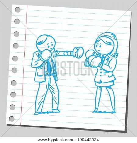 Businesswoman and businessman boxing