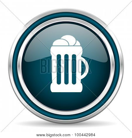 beer blue glossy web icon with double chrome border on white background with shadow