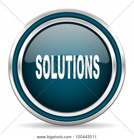 solutions blue glossy web icon with double chrome border on white background with shadow