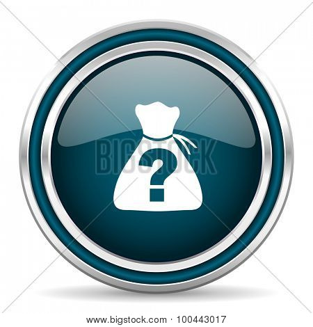riddle blue glossy web icon with double chrome border on white background with shadow