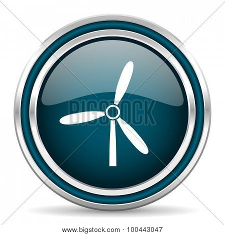 windmill blue glossy web icon with double chrome border on white background with shadow