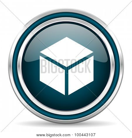 box blue glossy web icon with double chrome border on white background with shadow