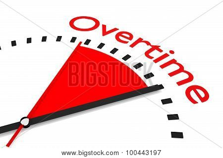 Clock With Red Seconds Hand Area Overtime