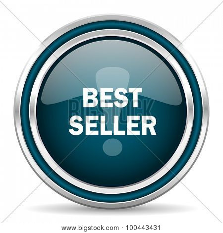 best seller blue glossy web icon with double chrome border on white background with shadow