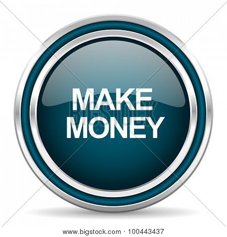 make money blue glossy web icon with double chrome border on white background with shadow
