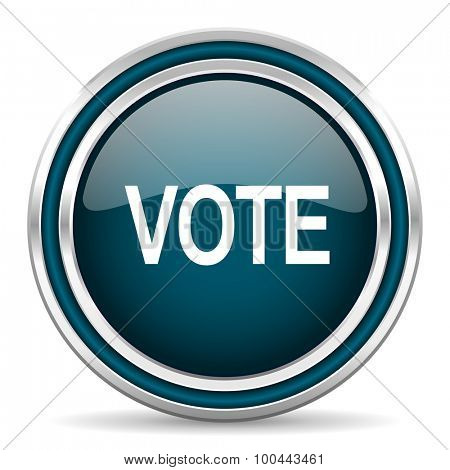 vote blue glossy web icon with double chrome border on white background with shadow