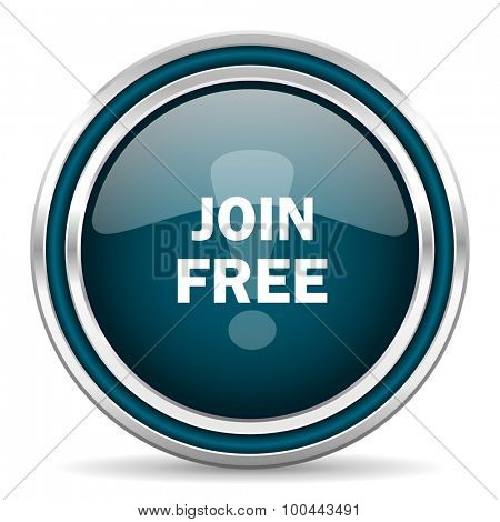 join free blue glossy web icon with double chrome border on white background with shadow