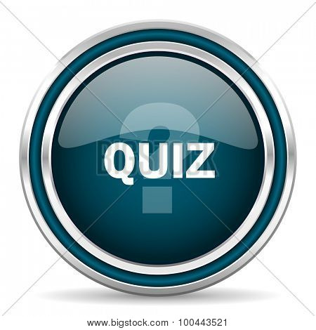 quiz blue glossy web icon with double chrome border on white background with shadow