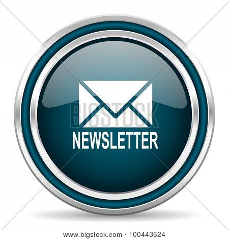 newsletter blue glossy web icon with double chrome border on white background with shadow