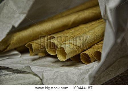 Tube Christmas wafers. Slovak tradition.