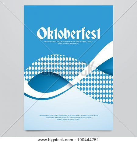 Oktoberfest vector flyer, poster, brochure, magazine cover template. Modern blue wave background.