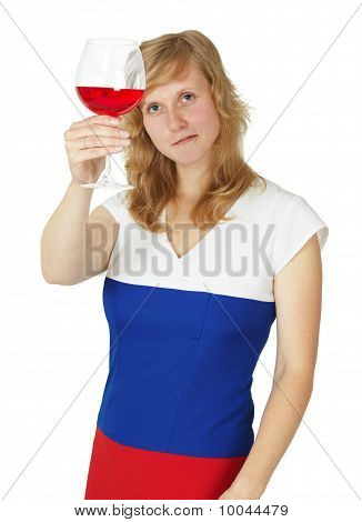 Girl Looks At A Glass Of Red Wine On White
