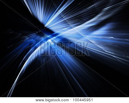 Color light traces over black background. Dynamic technology design. Detailed computer graphics.