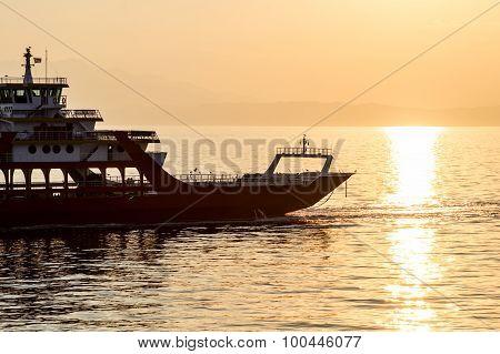 Ferryboat Transportation At Dusk In Mediterranean Sea Closeup