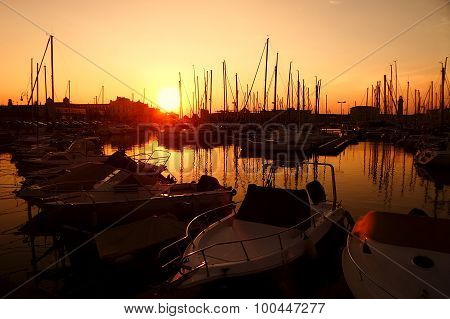 Sunset In The Nautical Smaller Boats Port. Trieste, Italy 2