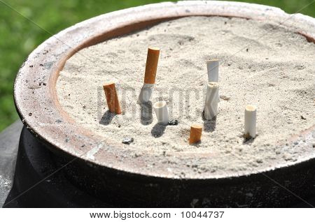 Ash Tray Cigarettes Outdoor Sand