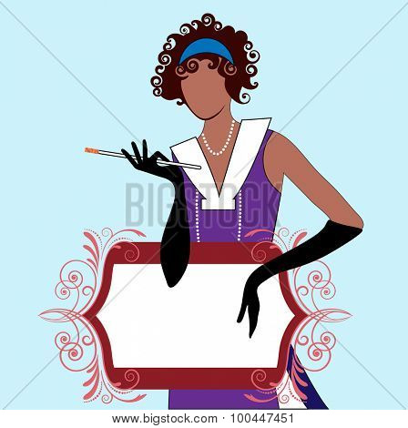 Flapper girl with banner for your  message