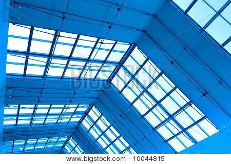 symmetric business modern blue hall inside airport