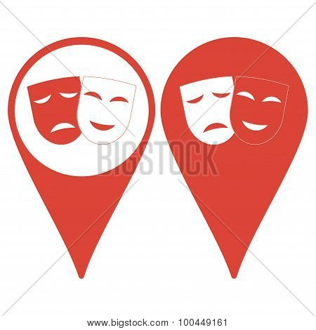 Theater Icon With Happy And Sad Masks.