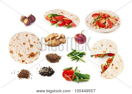 Shawarma Set Isolated