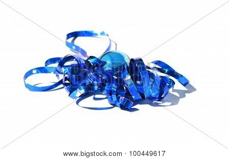 blue ball with Christmas tinsel on a white background