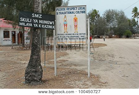 Poster Asking Not Denude Body Parts In Muslim Village.