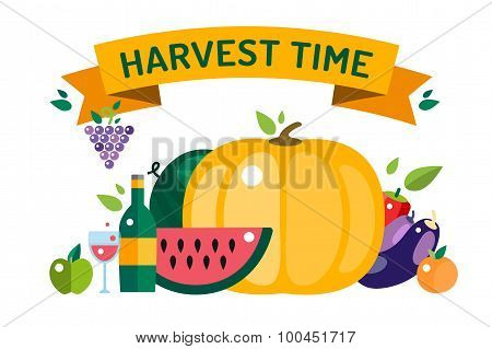 Harvest time vector illustration