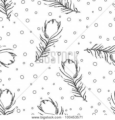 Seamless Abstract Pattern With Peacock Feathers And Dots. Vintage White And Black Background. Vector