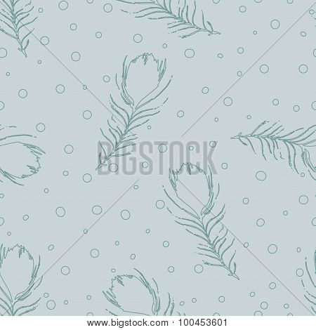 Vector Seamless Abstract Pattern With Peacock Feathers And Dots. Vintage Gray Blue Background.