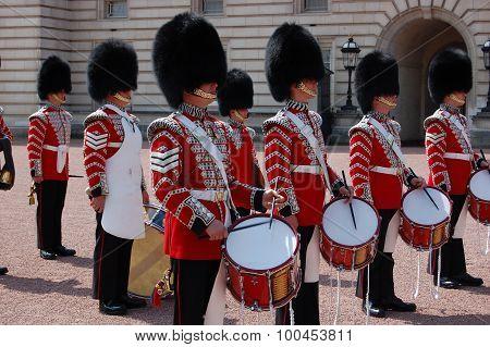 British Royal Guards in Buckingham Palace.