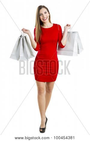Beautiful and attractive woman with shopping bags