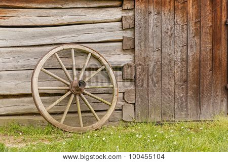 Closeup of an old wooden wheel