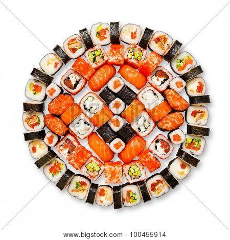 Set Of Sushi, Maki, Gunkan And Rolls Isolated At White