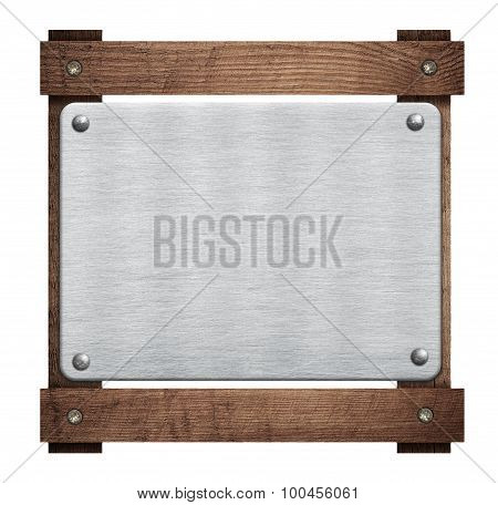 Composition of metal aluminum plaque, name plate on wooden frame