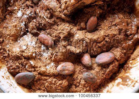 Preparing dough for chocolate pie close up