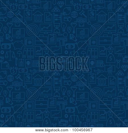 Thin Banking Line Business Finance Dark Blue Seamless Pattern