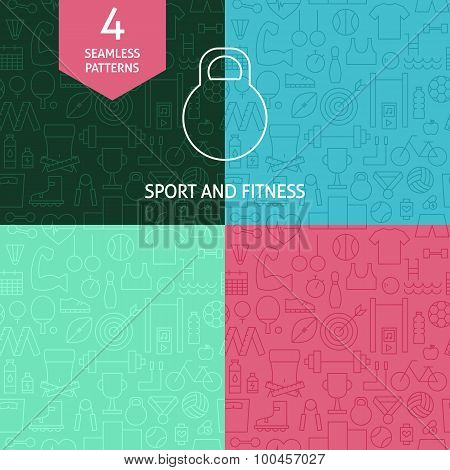 Thin Line Art Thin Line Sport And Fitness Patterns Set