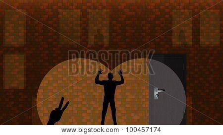 Shadows On The Brick Wall. Vector Illustration, Background, Wallpaper.