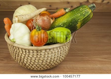 Autumn harvest vegetables. Growing organic vegetables in the country.