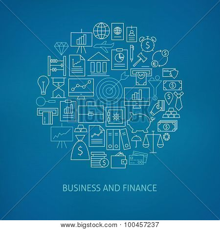 Thin Line Finance Business Money Icons Set Circle Shaped Concept