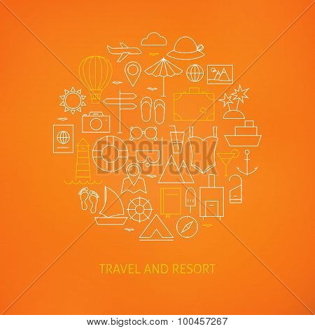 Thin Line Summer Holiday Travel Icons Set Circle Shaped Concept