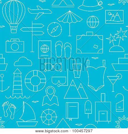 Thin Summer Holiday Line Vacation Resort Seamless Blue Pattern